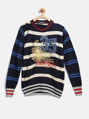 Wingsfield Boys Navy Striped Sweater