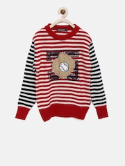 Wingsfield Boys Red Striped Sweater