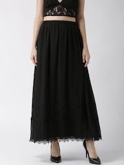 Silvian Heach Black Dobby Pattern Maxi Skirt