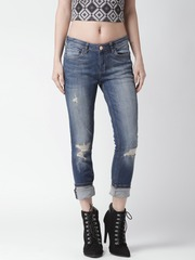 Silvian Heach Women Blue Tina Slim Fit Mid-Rise Mildly Distressed Jeans