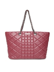 Silvian Heach Burgundy Studded Quilted Shoulder Bag