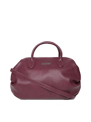 Silvian Heach Maroon Studded Bowling Handbag with Sling Strap