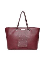 Sylvian Heach Burgundy Embellished Shoulder Bag