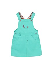 Beebay Girls Turquoise Blue Dungarees with Embroidered Detail