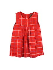 My Little Lambs Girls Red Checked A-Line Dress