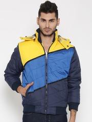 British Club Yellow & Blue Colourblocked Bomber Jacket with Detachable Hood
