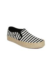 Vans Women Black & Off-White Striped Asher Espadrilles