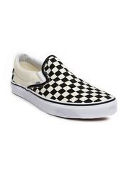 Vans Men Black & Off-White Checked Classic Slip-On Sneakers