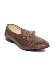 Franco Leone Men Brown Textured Tassel Loafers
