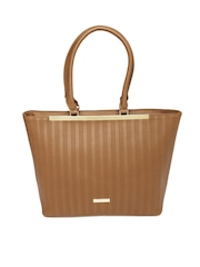 Addons Brown Textured Handbag