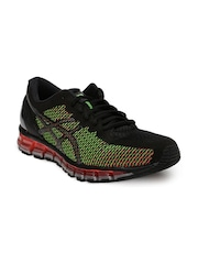 ASICS Men Black & Neon Pink Gel-Quantum 360 2 Running Shoes