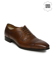Ruosh Men Tan Brown Genuine Leather Brogues