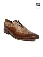 Ruosh Men Tan Brown Printed Genuine Leather Semiformal Shoes