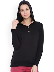 Campus Sutra Black Hooded Sweatshirt