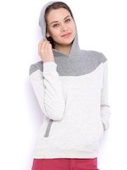 Campus Sutra Grey Melange Hooded Sweatshirt