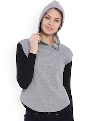 Campus Sutra Grey Melange & Black Colourblocked Hooded Sweatshirt