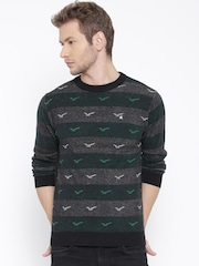 Fort Collins Men Charcoal Grey Striped Sweater
