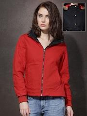 Roadster Black & Red Reversible Jacket with Detachable Faux Fur Trim Hood