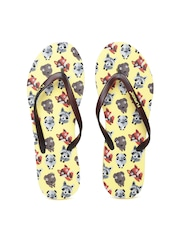 Flipside Women Brown & Yellow Printed Flip-Flops