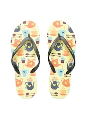 Flipside Women Black & Yellow Printed Flip-Flops