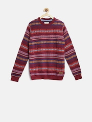U.S. Polo Assn. Kids Boys Maroon Fair Isle Sweater