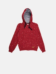 U.S. Polo Assn. Kids Boys Red Star-Shaped Print Hooded Sweatshirt
