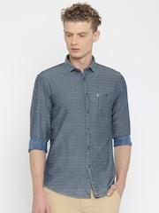Allen Solly Men Blue Custom Fit Casual Shirt