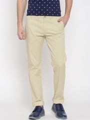 Allen Solly Men Beige Printed Smart Slim Fit Chino Trousers