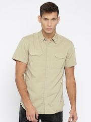 Jack & Jones Men Beige Solid Casual Shirt
