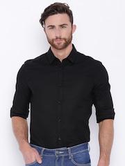 Jack & Jones Men Black Slim Fit Casual Shirt