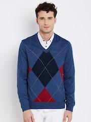 U.S. Polo Assn. Men Blue Argyle Pattern Sweater