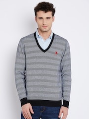 U.S. Polo Assn. Men Black & White Self-Striped Sweater