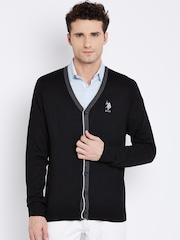 U.S. Polo Assn. Black Solid Merino Wool Cardigan