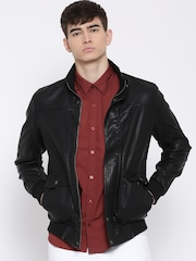U.S. Polo Assn. Black Faux Leather Bomber Jacket