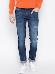John Players Men Blue Slim Fit Low-Rise Low Distress Jeans