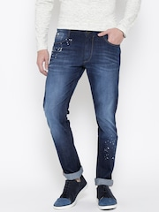 John Players Men Blue Skinny Low-Rise Clean Look Jeans