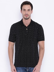 John Players Men Black Printed Polo T-shirt