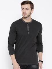 John Players Men Black & Grey Striped Slim Fit Henley T-shirt
