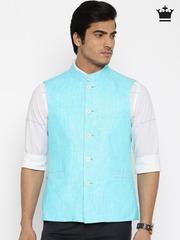 Louis Philippe Blue Linen Ultra Fit Nehru Jacket
