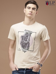 Louis Philippe Jeans Men Beige Printed T-Shirt