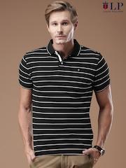 Louis Philippe Sport Black Striped Polo T-Shirt