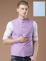 Louis Philippe Lavender & Blue Steven Fit Reversible Nehru Jacket
