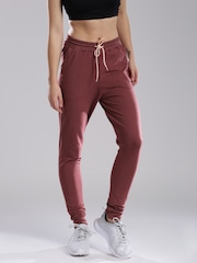 HRX by Hrithik Roshan Women Burgundy Solid Regular Fit Cuffed Trousers