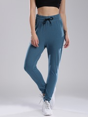 HRX by Hrithik Roshan Women Teal Blue Solid Regular Fit Cuffed Trousers