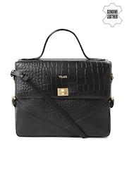 VIARI Black Patterned Genuine Leather Satchel