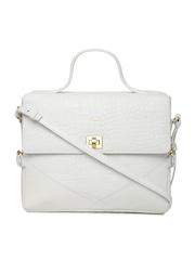 VIARI White Textured Genuine Leather Satchel