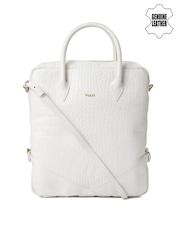 VIARI White Textured Genuine Leather Handbag