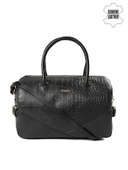 VIARI Black Textured Genuine Leather Handbag