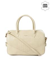 VIARI Beige Textured Genuine Leather Handbag