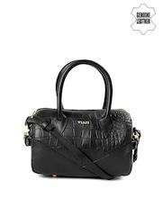 VIARI Black Patterned Genuine Leather Handbag